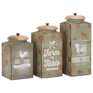 IMAX Worldwide Home Bottles, Jars, and Canisters Farmhouse Lidded Canisters - Set of 3
