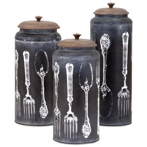 IMAX Worldwide Home Bottles, Jars, and Canisters Vintage Flatware Lidded Canisters - Set of 3