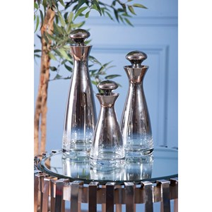 IMAX Worldwide Home Bottles, Jars, and Canisters Brightly Glass Bottles with Stoppers - Set o