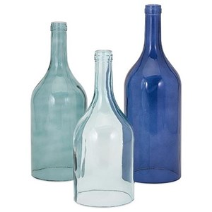 IMAX Worldwide Home Bottles, Jars, and Canisters Monteith Blue Cloche Bottles - Set of 3