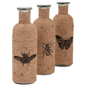IMAX Worldwide Home Bottles, Jars, and Canisters Jute Accent Bottles - Ast 3