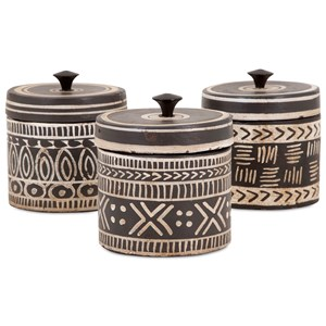 IMAX Worldwide Home Bottles, Jars, and Canisters Tribal Lidded Jars - Ast 3