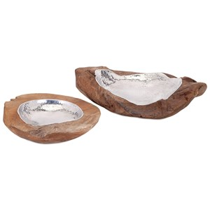 IMAX Worldwide Home Boxes, Bowls, and Balls Abaco Teak and Aluminum Bowls - Set of 2