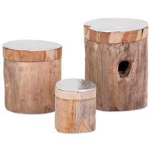 IMAX Worldwide Home Boxes, Bowls, and Balls Abaco Teak and Aluminum Lidded Boxes - Set o