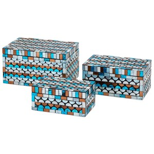 IMAX Worldwide Home Boxes, Bowls, and Balls Cordelia Glass Mosaic Boxes - Set of 3