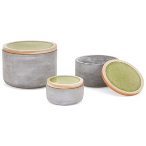 IMAX Worldwide Home Boxes, Bowls, and Balls Molly Cement Lidded Boxes - Set of 3