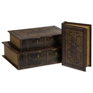 IMAX Worldwide Home Boxes, Bowls, and Balls Old World Book Box Collection - Set of 3