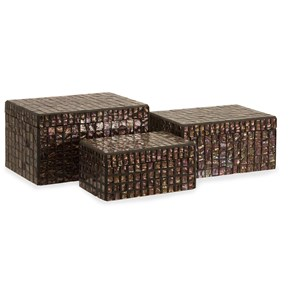 IMAX Worldwide Home Boxes, Bowls, and Balls Orchid Mosaic Boxes - Set of 3
