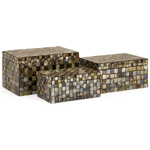 IMAX Worldwide Home Boxes, Bowls, and Balls Noida Mosaic Boxes - Set of 3