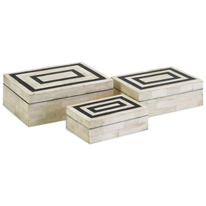 IMAX Worldwide Home Boxes, Bowls, and Balls Bella Bone Inlay Boxes - Set of 3