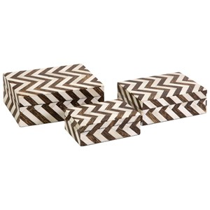 IMAX Worldwide Home Boxes, Bowls, and Balls Zigzag Bone Inlay Boxes - Set of 3