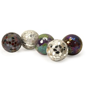 IMAX Worldwide Home Boxes, Bowls, and Balls Abbot Mosaic Deco Balls - Set of 5
