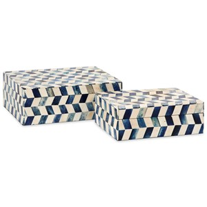 IMAX Worldwide Home Boxes, Bowls, and Balls Essentials Marine Blue Bone Boxes - Set of 2