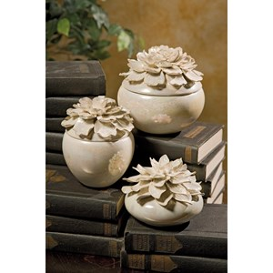 IMAX Worldwide Home Boxes, Bowls, and Balls Blair Hand-sculpted Floral Boxes - Set of 3