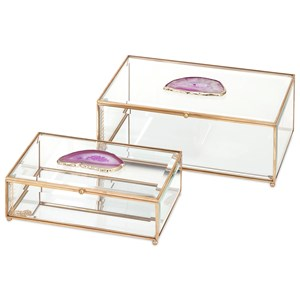 IMAX Worldwide Home Boxes, Bowls, and Balls Maison Glass and Agate Boxes - Set of 2