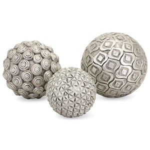 IMAX Worldwide Home Boxes, Bowls, and Balls Nahara Silver Balls - Set of 3