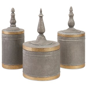 IMAX Worldwide Home Boxes, Bowls, and Balls Katrina Metal Lidded Boxes - Set of 3