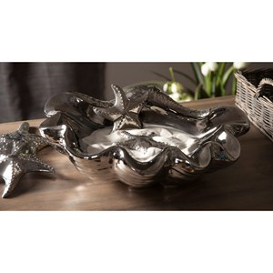 IMAX Worldwide Home Boxes, Bowls, and Balls Ithaca Oversized Silver Shell Bowl