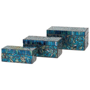 IMAX Worldwide Home Boxes, Bowls, and Balls Peacock Mosaic Boxes - Set of 3