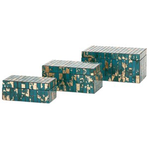 IMAX Worldwide Home Boxes, Bowls, and Balls Glacier Mosaic Boxes - Set of 3