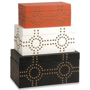 IMAX Worldwide Home Boxes, Bowls, and Balls Jordan Studded Boxes - Set of 3