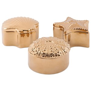 IMAX Worldwide Home Boxes, Bowls, and Balls Petra Gold Ceramic Shell Boxes - Ast 3
