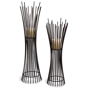 Metal Candleholder Duo - Set of 2