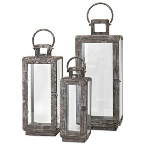 IMAX Worldwide Home Candle Holders and Lanterns Homestead Metal Lanterns - Set of 3