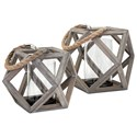 IMAX Worldwide Home Candle Holders and Lanterns Ares Small Wood Lantern - Item Number: 16200