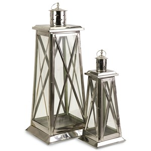 IMAX Worldwide Home Candle Holders and Lanterns Regatta Steel Candle Lanterns - Set of 2
