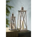 IMAX Worldwide Home Candle Holders and Lanterns Regatta Steel Candle Lanterns - Set of 2 - Item Number: 20006-2