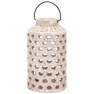 IMAX Worldwide Home Candle Holders and Lanterns Verandah Large Cutout Ceramic Lantern
