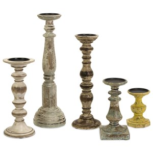 IMAX Worldwide Home Candle Holders and Lanterns Kanan Wood Candleholders with Distressed Fin