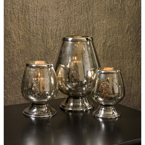 IMAX Worldwide Home Candle Holders and Lanterns Round Mercury Glass Candleholders - Set of 3
