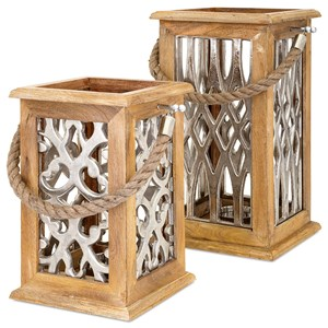 IMAX Worldwide Home Candle Holders and Lanterns Ansley Large Wood and Aluminum Lantern