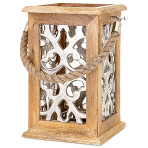 IMAX Worldwide Home Candle Holders and Lanterns Ansley Small Wood and Aluminum Lantern