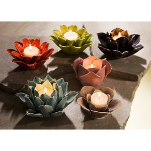 Leona Assorted Flower Candleholders - Set of