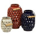 IMAX Worldwide Home Candle Holders and Lanterns Bailey Lattice Lanterns - Set of 3 - Item Number: 69249-3
