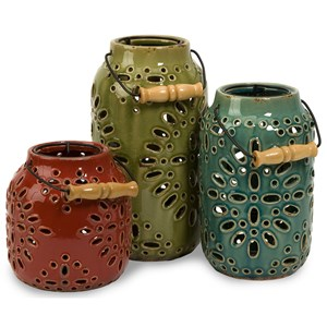 IMAX Worldwide Home Candle Holders and Lanterns Luna Ceramic Lanterns - Set of 3