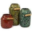 IMAX Worldwide Home Candle Holders and Lanterns Luna Ceramic Lanterns - Set of 3 - Item Number: 69253-3