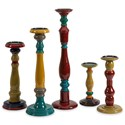 IMAX Worldwide Home Candle Holders and Lanterns Jasper Wood Candleholders - Set of 5 - Item Number: 73168-5