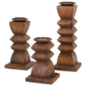 IMAX Worldwide Home Candle Holders and Lanterns Desta Wood Candleholders - Set of 3