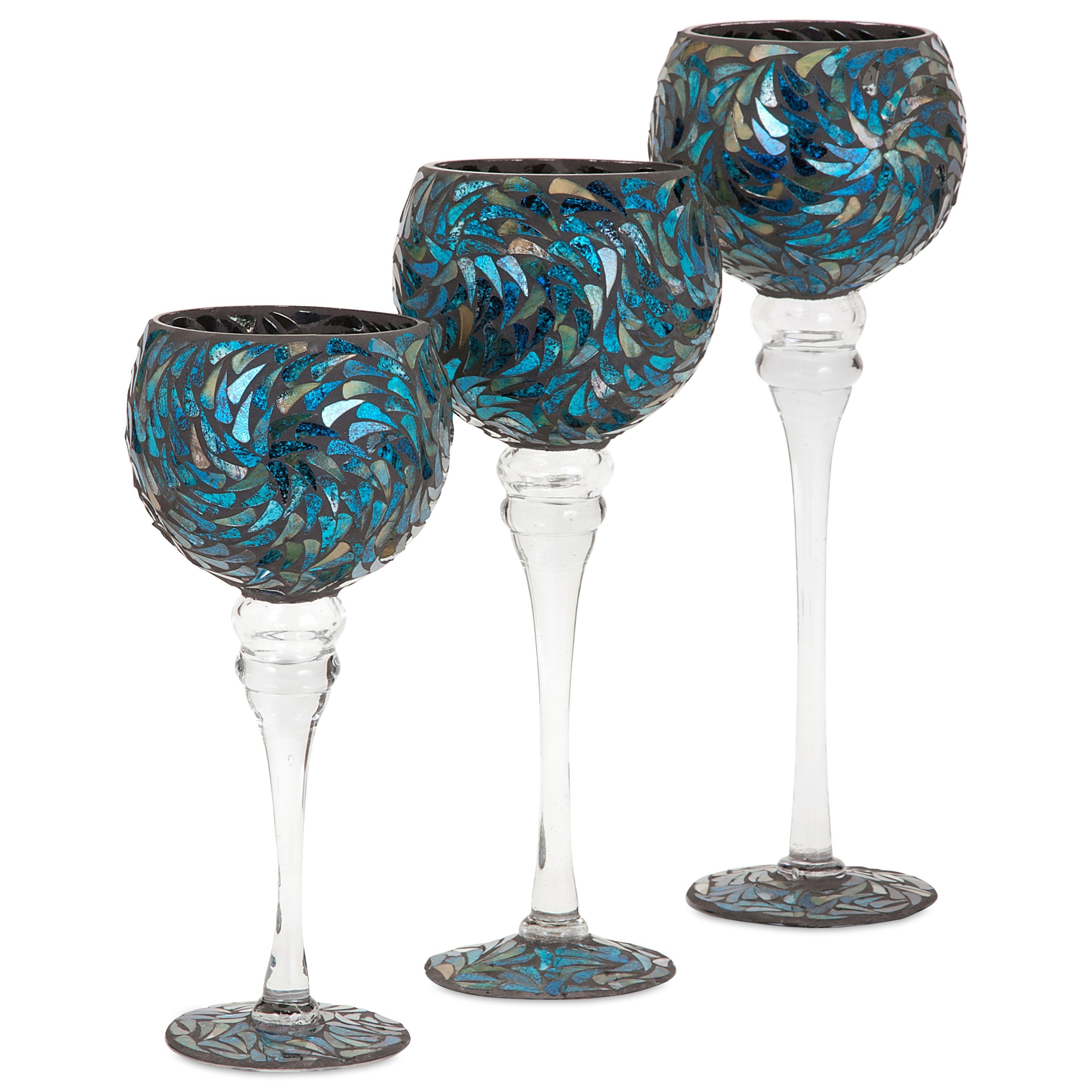 Peacock Mosaic Votive Holders - Set of 3