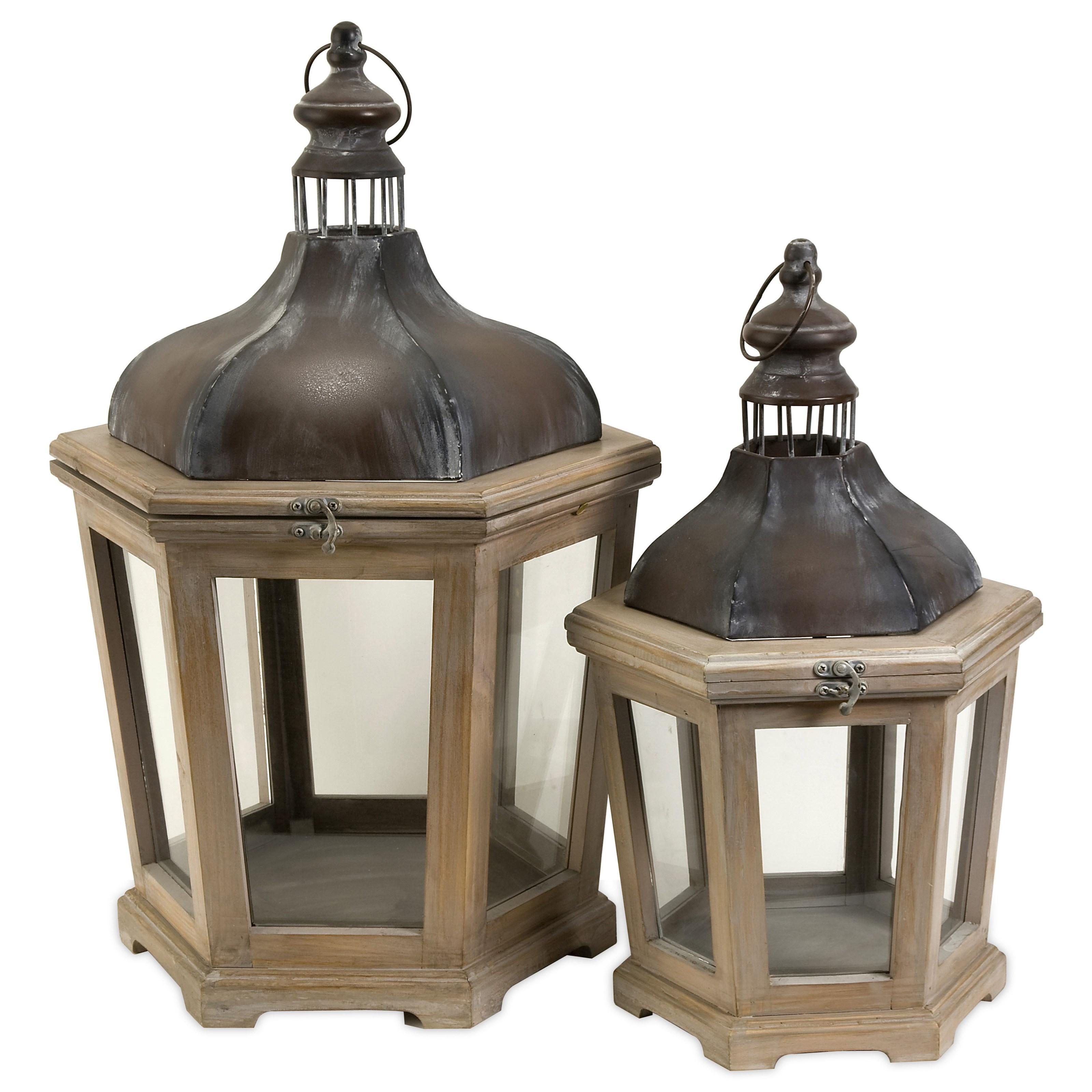 Pomeroy Wood and Metal Lanterns - Set of 2