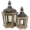 IMAX Worldwide Home Candle Holders and Lanterns Pomeroy Wood and Metal Lanterns - Set of 2 - Item Number: 84155-2