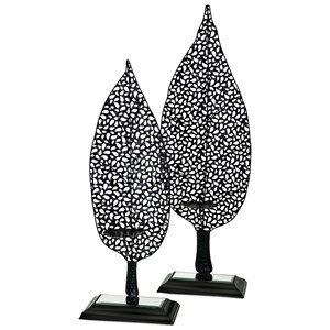 IMAX Worldwide Home Candle Holders and Lanterns Aaron Leaf Candleholders - Set of 2