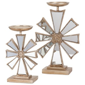 IMAX Worldwide Home Candle Holders and Lanterns Snowflake Candlesticks- Set of 2