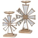 IMAX Worldwide Home Candle Holders and Lanterns Snowflake Candlesticks- Set of 2 - Item Number: 88493-2