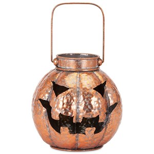 IMAX Worldwide Home Candle Holders and Lanterns Rylan Copper Finish Jack-o'-lantern