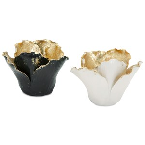 IMAX Worldwide Home Candle Holders and Lanterns Lucien Gold Leaf Porcelain Candleholders - A
